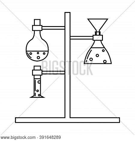 Medical Laboratory Equipment. Holder With Test Tube. Soleted Vector Outline Illustration
