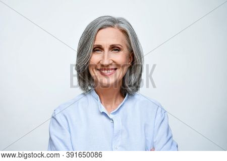 Smiling Beautiful Mature Business Woman Standing Isolated On White Background. Older Senior Business