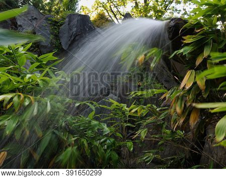 Small Waterfall In Erfurt At Egapark Into Summer