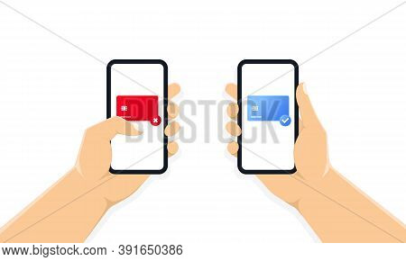 Hands Holding Phone With Payment Form On The Screen, Payment By Card Online. Online Payment Confirma