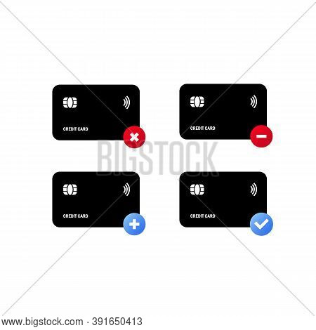 Black Credit Card Icon Set. Approved For Payment. Transactions And Payments. The Concept Of A Succes