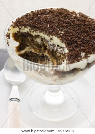 Individual Tiramisu with a spoon out poster