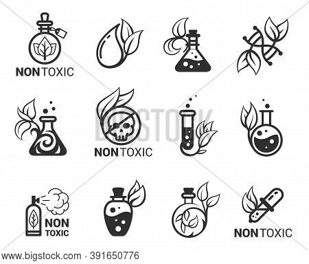 Non-toxic, Hypoallergenic, Eco Friendly Bold Black Silhouette And Line Icons Set Isolated On White.