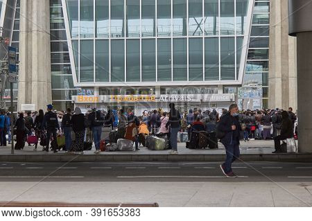 Saint-petersburg, Russia, June 2020: Many People On The Flight. International Flights Canceled Due T