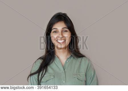 Smiling Cheerful Young Adult Indian Woman Looking At Camera, Happy Pretty Funny Lady Model Laughing,