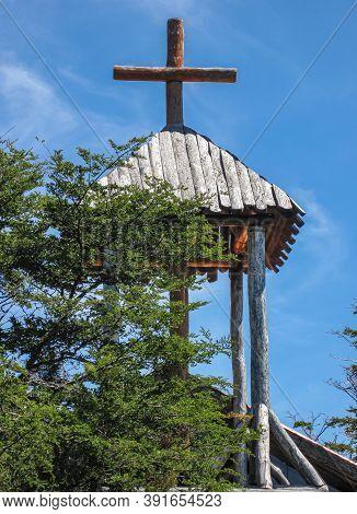 Riesco Island, Chile - December 12, 2008: Posada Estancia Rio Verde Working Farm. Top Of Small Priva