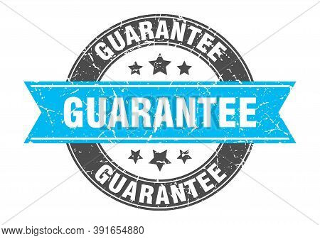 Guarantee Round Stamp With Turquoise Ribbon. Guarantee