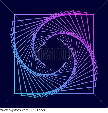 Twisted Colored Spiral. Wireframe Square Shape. Technology Lines Graphic Element.