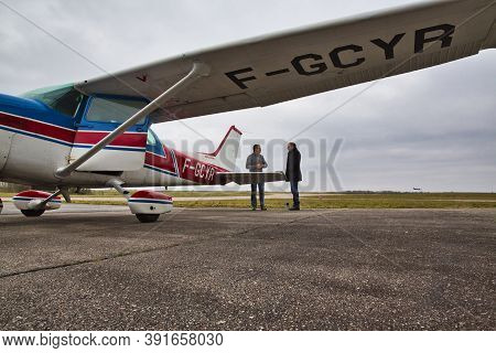 Caen, France - June Circa 2016. Private Cessna Aircraft On The Tarmac Of A Small Regional Airport Wi