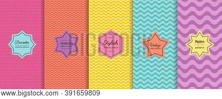 Vector Wave Seamless Patterns Collection. Set Of Colorful Background Swatches With Elegant Minimal L