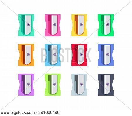 Colorful Plastic Pencil Sharpeners Set. School And Office Supplies Collection. Flat Vector Illustrat