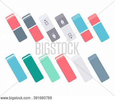 Set Of Colorful Ink And Graphite Erasers. School And Office Supplies Collection. Flat Vector Illustr