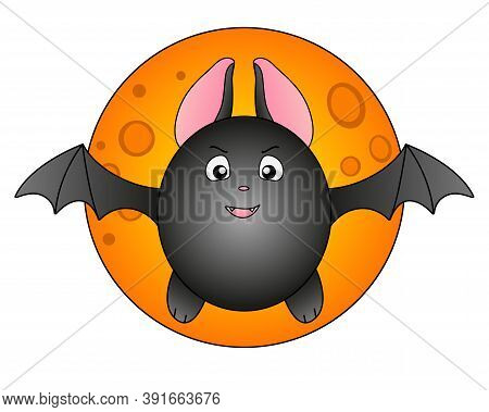 Cute Fat Bat On The Background Of The Full Moon And Stars - Full Color Stock Illustration About Hall