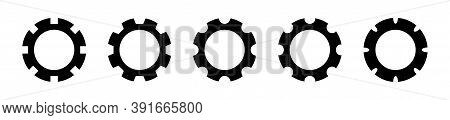 Cogwheel Collection On White Background. Isolated Gear Mechanism Icons. Clock Engine Symbol In Black