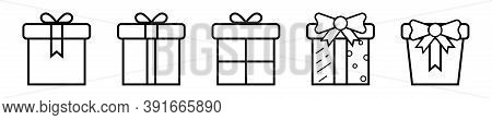 Outline Gift Box Collection. Isolated Transparent Present Box With Ribbon. Christmas Cardboard Picto