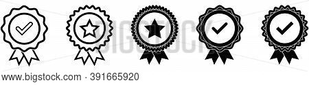 Certified Badge Collection. Quality Medal Set On White Background. Approved Emblem In Black. Recomme