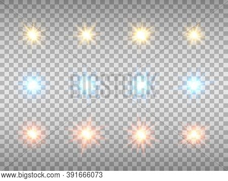 Glowing Lights Collection On Transparent Background. Color Stars Set. Abstract Colorful Flares. Chri
