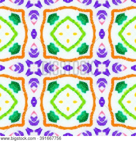 Azulejo Ornament. Colorful Summer Squares. Traditioal Motif Tile Print Design. Ehnic Ornament. Drawn