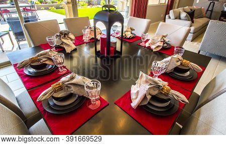 Dining Area Table With Eight Place Settings & Centerpiece