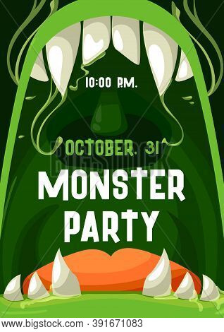 Halloween Monster Party Vector Invitation Poster With Open Zombie Mouth And Teeth Frame. Trick Or Tr