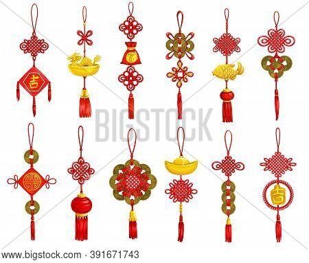 Chinese New Year Decoration And Ornament Vector Icons. Lunar New Year And Asian Spring Festival Red