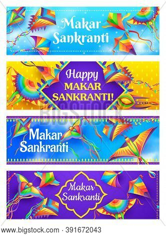 Kites Of Makar Sankranti Vector Banners, Indian Festival Of Hindu Religion. Bird And Butterfly Shape