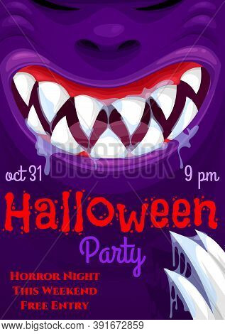 Halloween Horror Night Party Vector Invitation With Scary Monster Smile. Halloween Holiday Purple Be