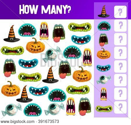 Halloween Counting Game Vector Template Of Kids Educational Puzzle Or Math Book Worksheet. Find And