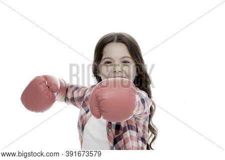 Girl Boxing Gloves Ready To Fight. Kid Strong And Independent Girl. Feel Powerful. Girls Power Conce