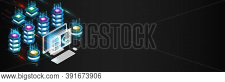 Big Data Analysis Processing. Network Connection And Information Exchange. Creative Web Hosting Bann