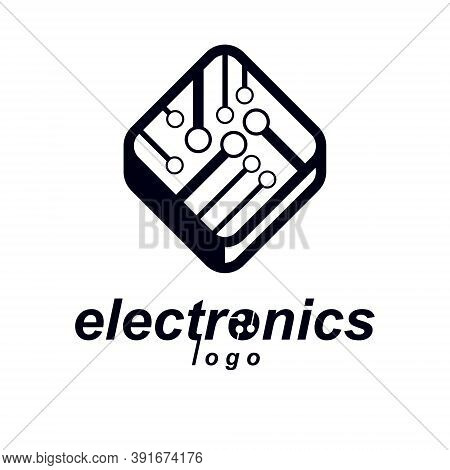 Vector Microchip Design, Cpu. Information Communication Technology Element, Circuit Board In Square