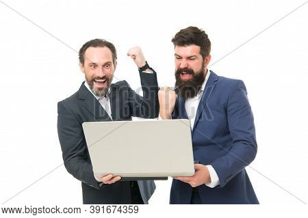 Men Working Laptop. Web Pages Content Easily Discoverable Searching Terms. Web Site Concept. Seo Suc