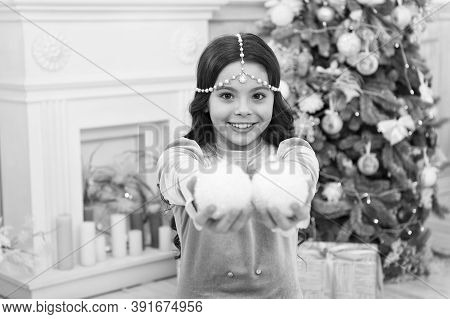 Playful Mood. New Year Eve. Dreams Come True. Christmas Decorating Ideas. Adorable Cheerful Girl Mak