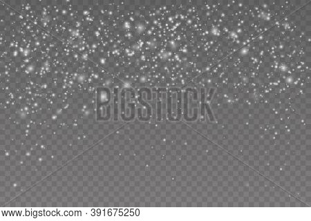 Snow Flakes, Snow Background. Falling Christmas Shining Transparent Beautiful, Little Snow