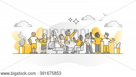 Friends Crowd Together As Social Contact Group Monocolor Outline Concept. Multicultural And Multirac