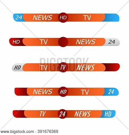 Lower Third Tv News Bars Set Vector. News Lower Thirds Pack. Tv Broadcasting Banner Or Lower Bar Des
