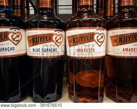 Belgrade, Serbia - September 29, 2020: De Kuyper Logo On Bottles For Sale In Belgrade. De Kuyper Is