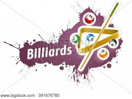 Ball and cue for playing billiard game over grunge splash. Isolated on white background. 3D illustration.