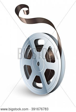 Film tape cinematography video movie disk isolated for classic vintage cinema theatre. Isolated on white background. 3D illustration.