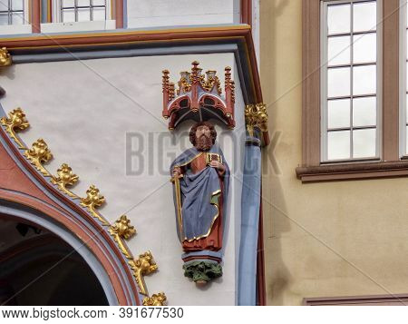 Figure Of St. Paul The Apostle On Steipe Building In Trier, Rhineland-palatinate, Germany