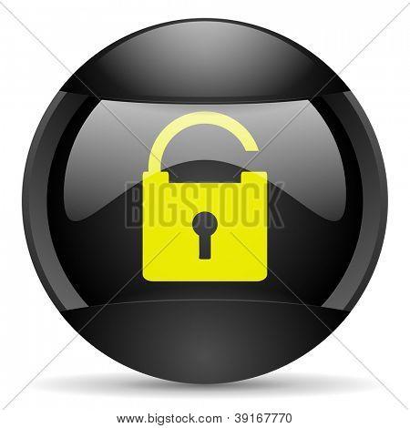 padlock round black web icon on white background