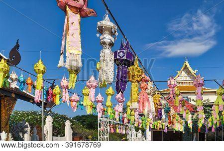 Paper Lanterns In Yee-peng Festival ,chiang Mai Thailand