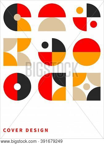 Retro Pattern In Style Of 60s, 70s. Bauhaus Seamless Color Geometric Background
