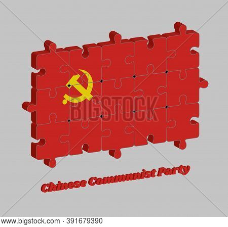3d Jigsaw Puzzle Of Chinese Communist Party Flag, Golden Hammer And Sickle On Red Color. Concept Of