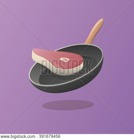 Beefsteak And Pan. Isometric Vector Illustration. Meat For Dinner. Cooking Beef.