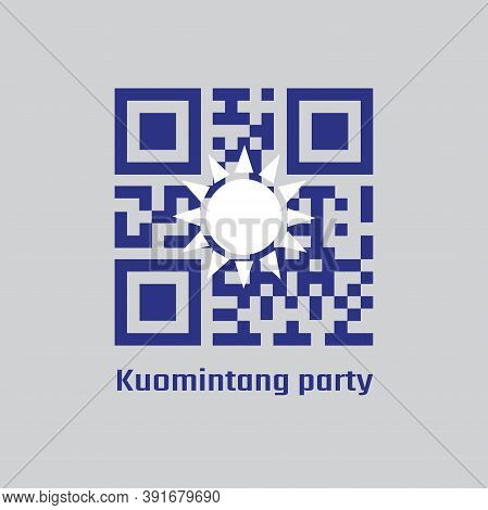 Qr Code Set Color Of Kuomintang Flag, A White Sun With Twelve Rays On Blue Background.