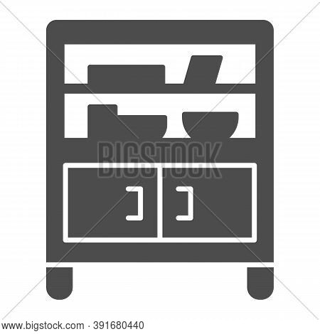 Cabinet With Glass And Shelves Solid Icon, Furniture Concept, Buffet Sign On White Background, Cupbo