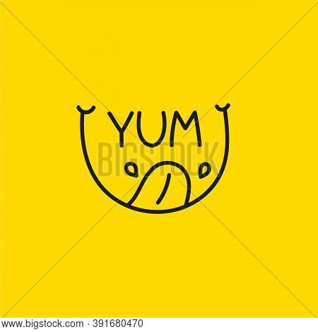 Yum Icon With Smile, Tongue And Saliva. Abstract Logo Line