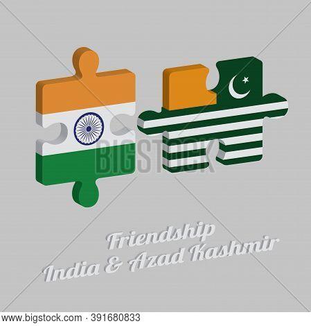 Jigsaw Puzzle 3d Of Azad Kashmir Flag And India Flag With Text: Friendship Azad Kashmir & India. Con