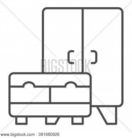 Wardrobe And Cabinet Thin Line Icon, Interior Design Concept, Furniture Sign On White Background, Cu